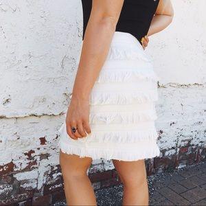 The Limited White Fringe Skirt NWT
